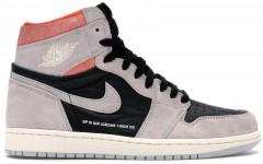 """Мужские кроссовки Jordan 1 Retro High """"Neutral Grey Hyper Crimson"""""""