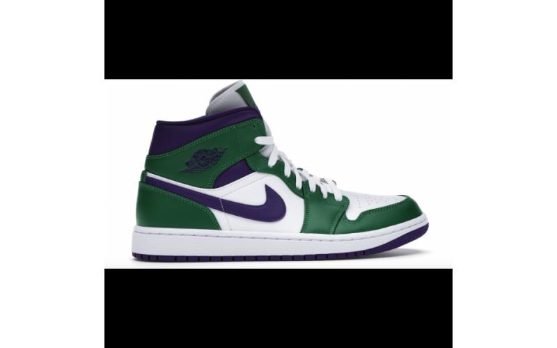 Мужские кроссовки Jordan 1 Mid Incredible Hulk aloe verde/court purple-white 554724-300