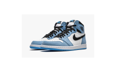 Мужские кроссовки Jordan 1 Retro High White University Blue Black - 555088-134