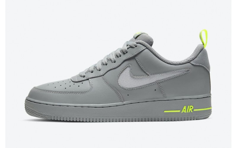 Мужские кроссовки Nike Air Force 1 Low With Cut-Out Swooshes Grey Volt Green DC1429-001