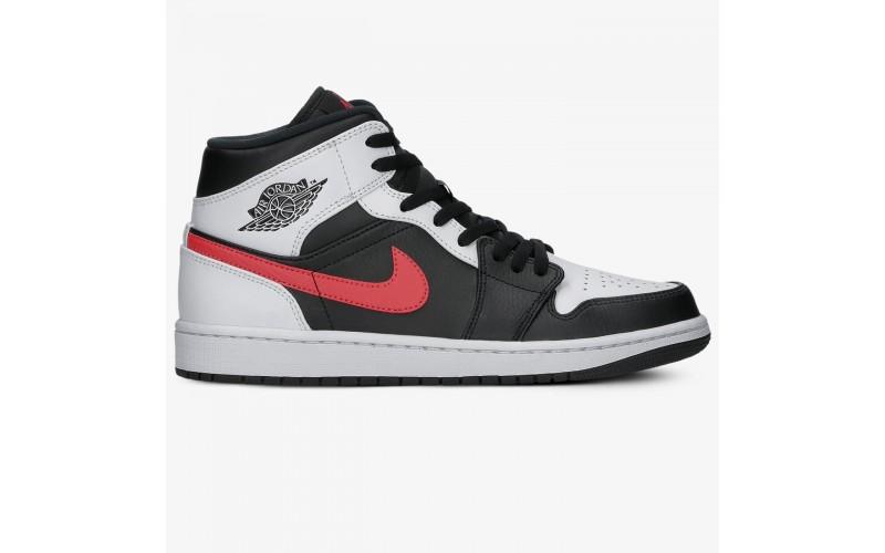 Кроссовки Jordan 1 Mid Black Chile Red White - 554724-075