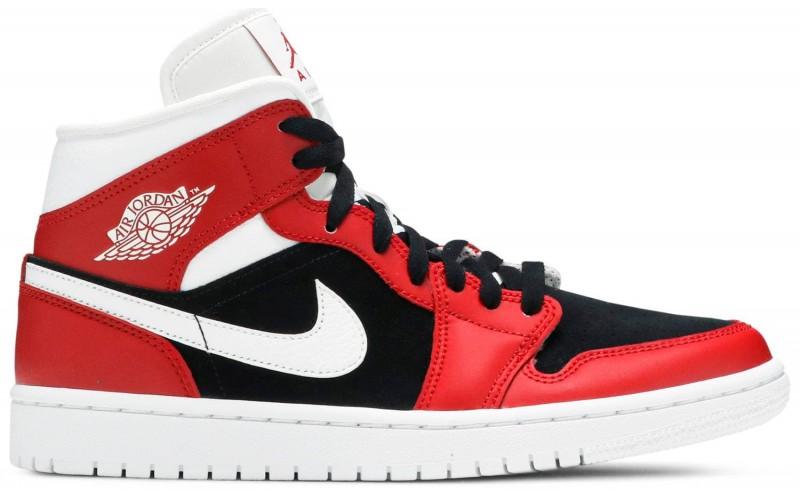 Женские кроссовки Jordan 1 Mid Gym Red Black BQ6472-601