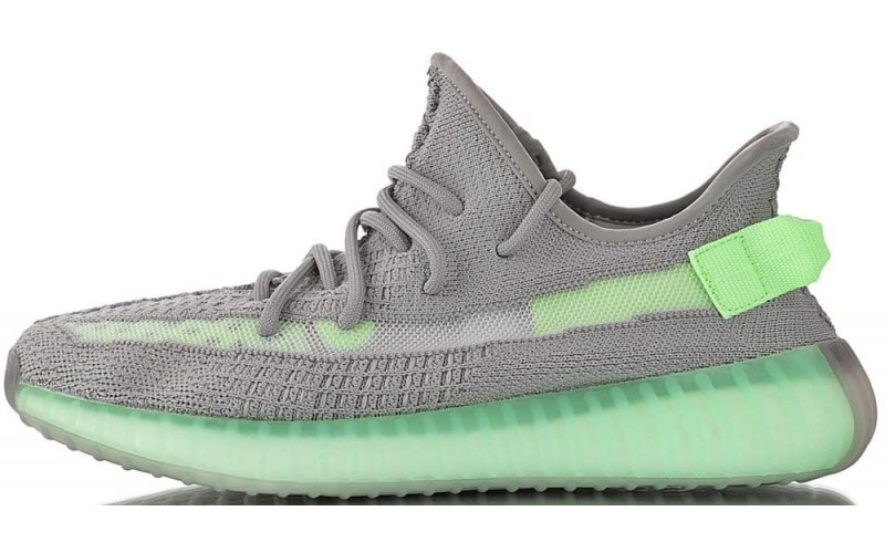 Женские кроссовки Adidas Yeezy 350 Boost V2 Grey Glow Volt Green EG5560