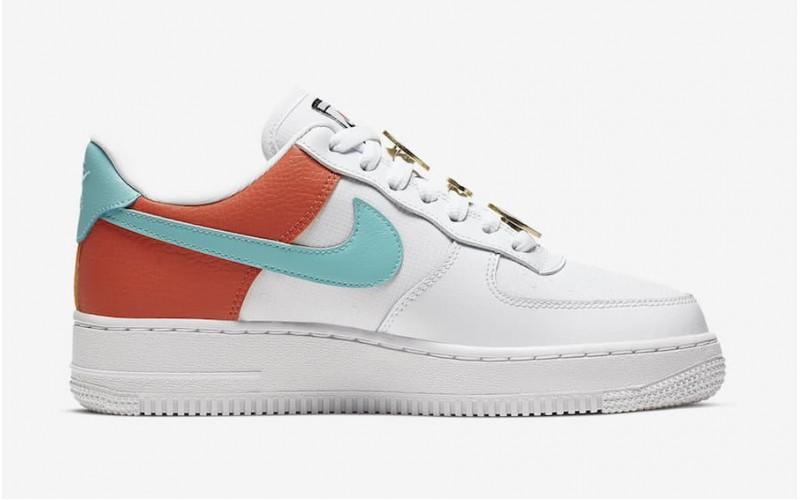 Женские кроссовки Nike Air Force 1 07 SE White/Light Aqua-Cosmic Clay AA0287-106