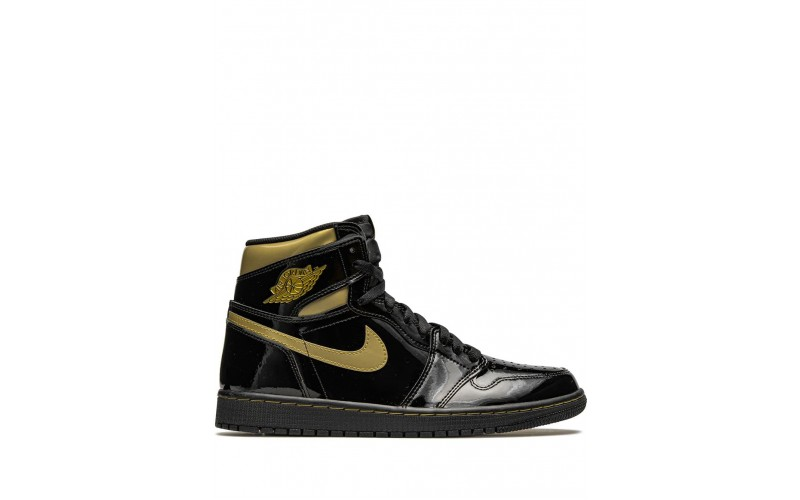 Мужские кроссовки Air Jordan 1 High Black Metallic Gold 555088-032
