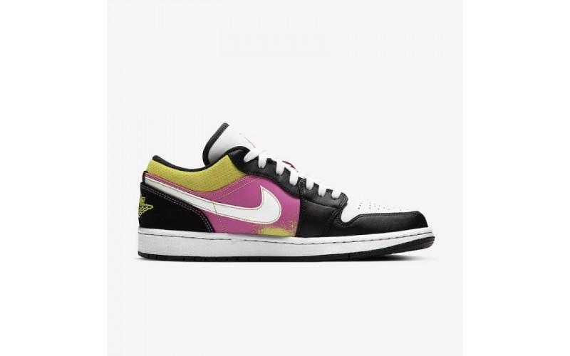 Женские кроссовки Air Jordan 1 Low Black Violet Yellow CW5564-001
