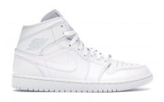 Женские кроссовки Air Jordan 1 Mid Triple White 554724-109