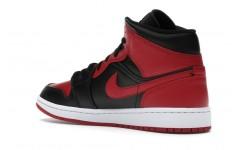 Мужские кроссовки Jordan 1 Mid Banned 554724-074 BLACK/UNIVERSITY RED-BLACK-WHITE
