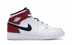 Мужские кроссовки Jordan 1 Mid White Black Gym Red (GS) 554725-116