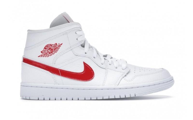 Женские кроссовки Jordan 1 Mid White University Red - BQ6472-106